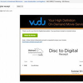 Walmart/VUDU disc-to-digital email confirmation