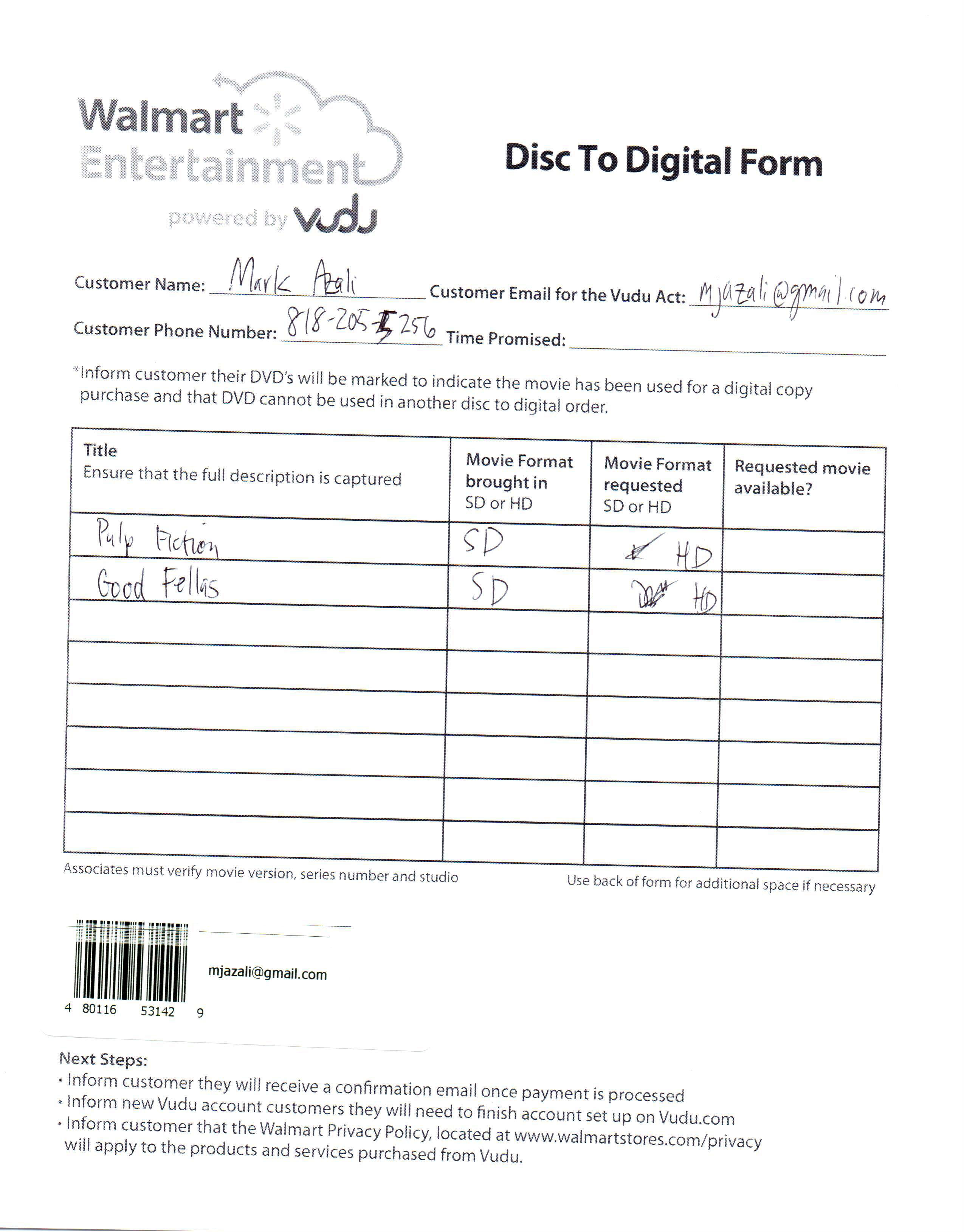 Walmart/VUDU disc-to-digital form